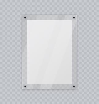 Акриловая стеклянная рамка пластиковая фото или рамка для плаката реалистичный макет, изолированные на прозрачной стене