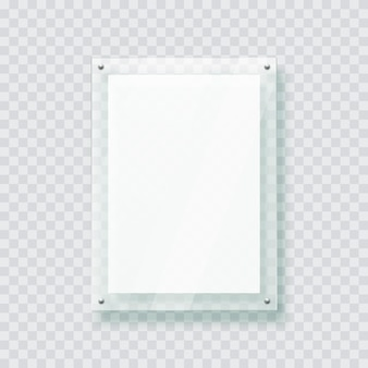 Акриловая стеклянная пластина пластиковая рамка для плаката фото 3d реалистичный макет изолированный висит на стене