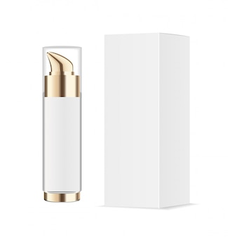 Acrylic or glass transparent cosmetic bottle with gold pump and paper package.