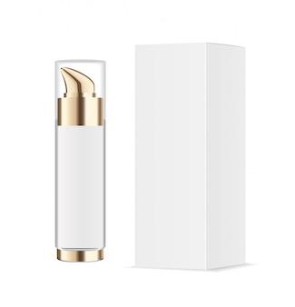 金のポンプと紙のパッケージが付いたアクリルまたはガラスの透明な化粧品ボトル。