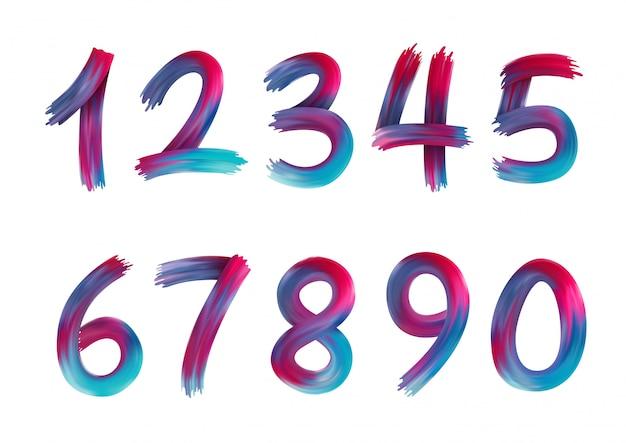 아크릴 페인트 무지개 화려한 숫자