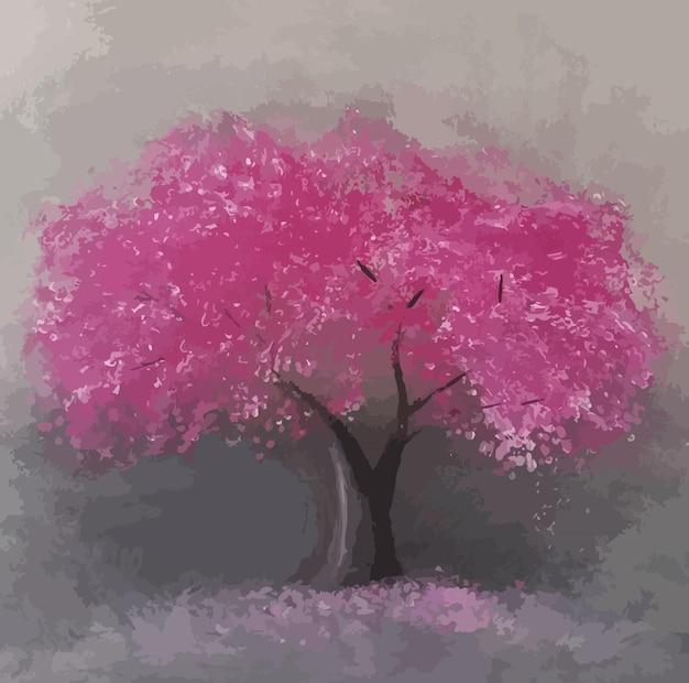 Acrylic painting sakura tree handdrawn illustration on canvas