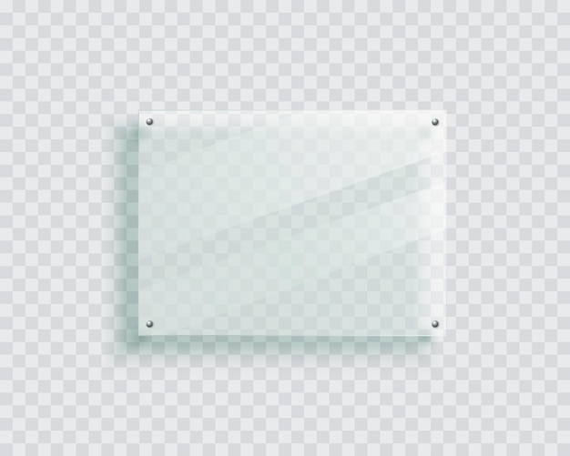 Acrylic signage board on the wall isolated 3d plastic plate realistic photo or poster mockup