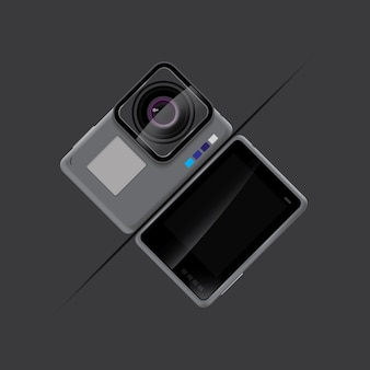 Action camera gray color background