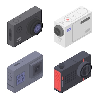 Action camera icons set, isometric style