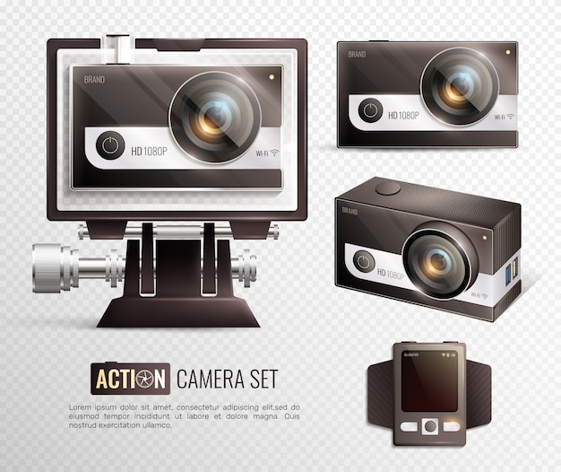 Action camera transaparent set