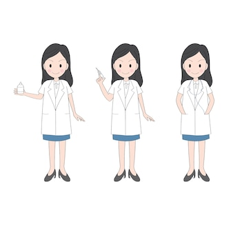 Action cartoon cute woman doctor