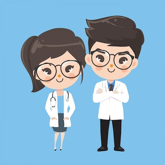 Action character doctor cute Premium Vector