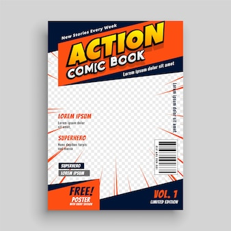 Action comic book cover page template design Free Vector