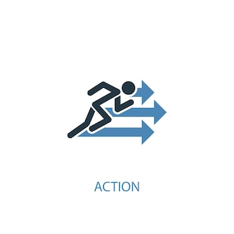 Action concept 2 colored icon. simple blue element illustration. action concept symbol design. can be used for web and mobile ui/ux