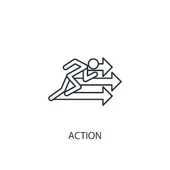 アクションコンセプトラインアイコン。シンプルな要素のイラスト。アクションコンセプト概要シンボルデザイン。 webおよびモバイルui / uxに使用できます