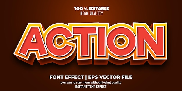 Стиль текстового эффекта редактируемого шрифта действия