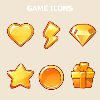 Action gold game icons set