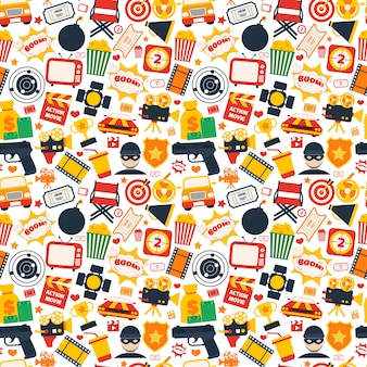 Action movie seamless pattern