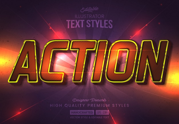 Action movie text style