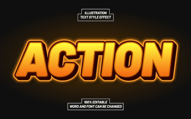 Action orange text style effect