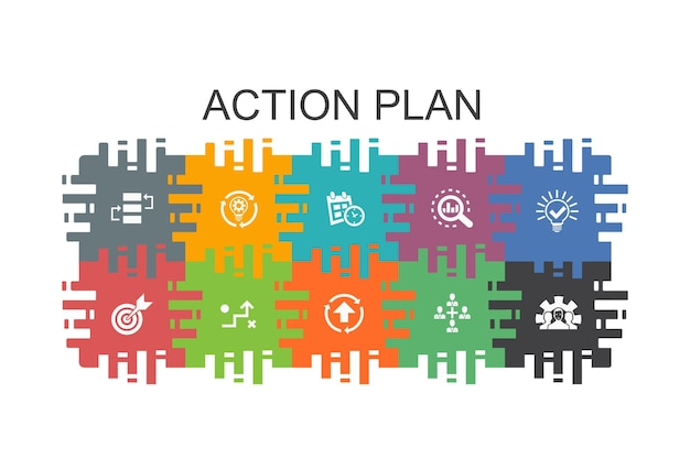 Action plan cartoon template with flat elements. contains such icons as improvement, strategy, implementation, analysis