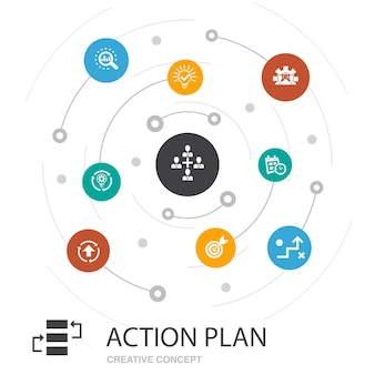 Action plan colored circle concept with simple icons. contains such elements as improvement, strategy, implementation, analysis