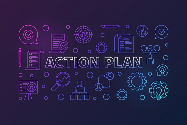 Action plan horizontal creative outline banner