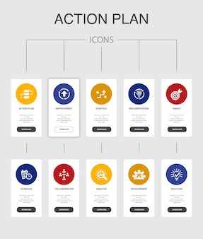 Action plan infographic 10 steps ui design.improvement, strategy, implementation, analysis simple icons