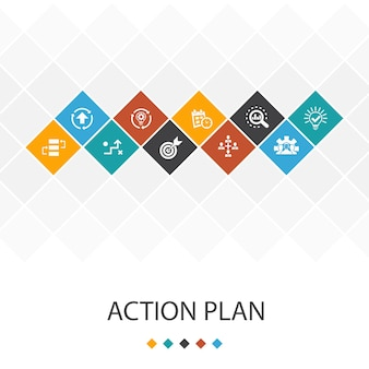 Action plan  trendy ui template infographics concept.improvement, strategy, implementation, analysis icons