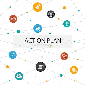 Action plan trendy web template with simple icons. contains such elements as improvement, strategy, implementation, analysis