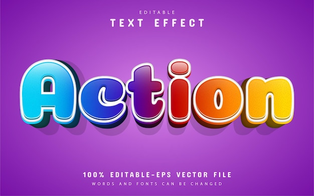 Action text, colorful cartoon text effect