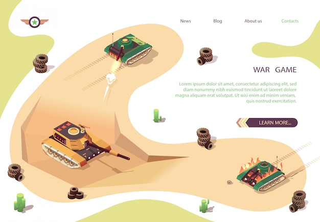 Action war game isometric banner with tank battle