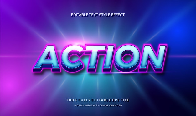 Действие с синим и блестящим цветным редактируемым эффектом стиля текста