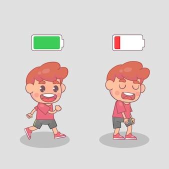활동적이고 피곤한 소년들. 행복하고 불행한 소년. 활기차고 피곤하거나 지친 소년과 삶의 에너지.
