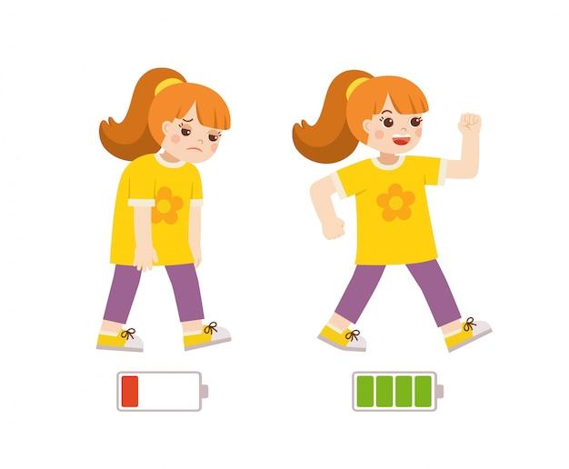 アクティブで疲れた女の子フラット漫画のカラフルなイラスト。幸せと不幸な少女。エネルギッシュで疲れた、または疲れ果てた少女と生命エネルギー。