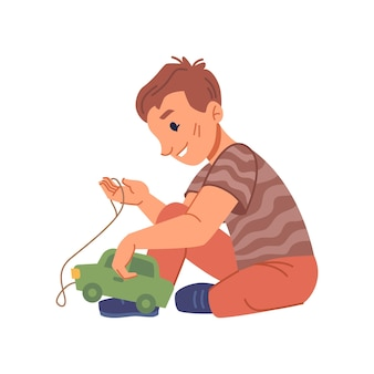 Active boy kid playing with plastic car toy isolated kiddo from kindergarten or preschool