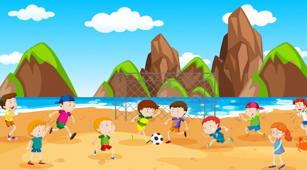 Active boys and girls playing sport and fun activities outside