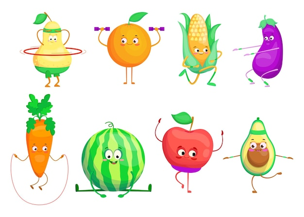Active cartoon fruit and vegetables set