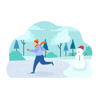 Active characters skiing, ice skating and snowman
