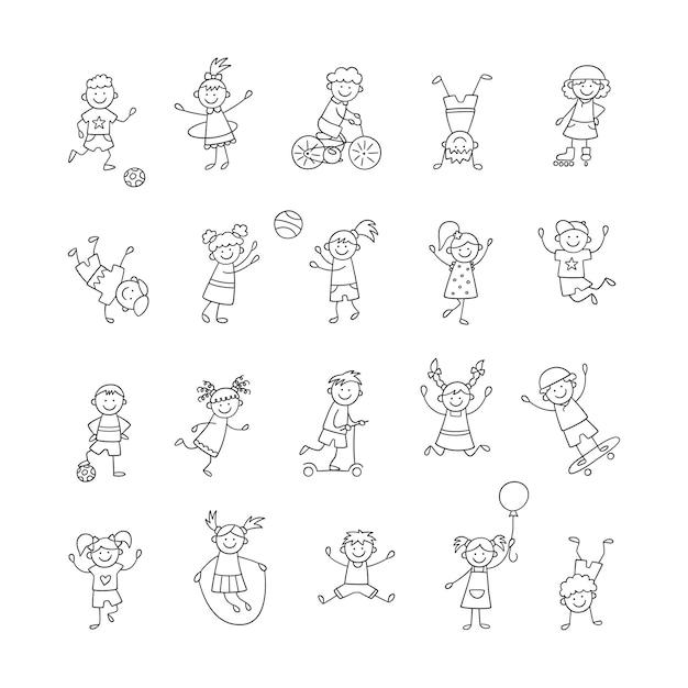활동적인 아이들은 놀고, 뛰고, 점프합니다. 행복한 귀여운 낙서 아이들. 격리된 문자 집합입니다. 흰색 배경에 손으로 그린 스타일 벡터 일러스트 레이 션
