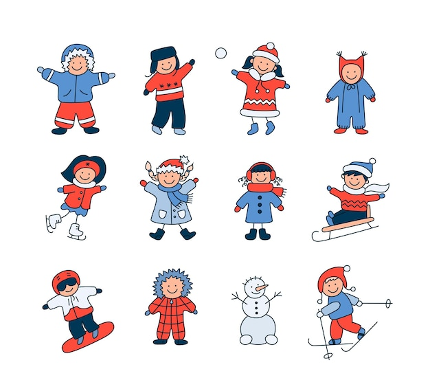 Active children in winter. cute kids play outdoor with snow. set of doodle isolated vector objects on white background