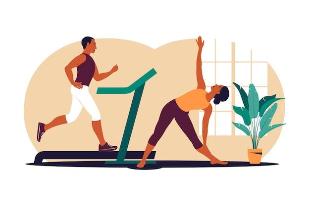 운동을 하는 활동적인 커플. 남자와 여자는 집에서 함께 훈련합니다. 아늑한 실내에서 스포츠를 즐겨보세요. 벡터 일러스트 레이 션. 플랫.