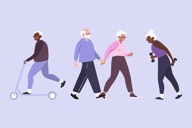 Active elderly people collection