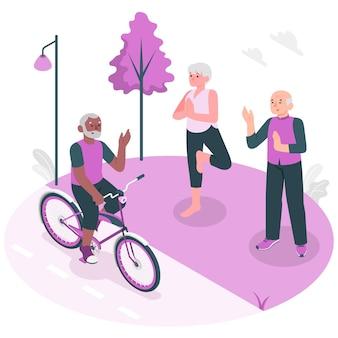 Иллюстрация концепции активных пожилых людей