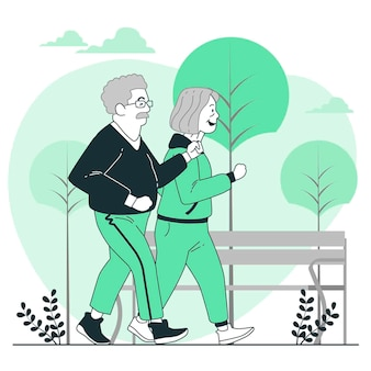 Active elderly people concept illustration
