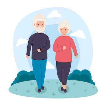 Active elderly people concept