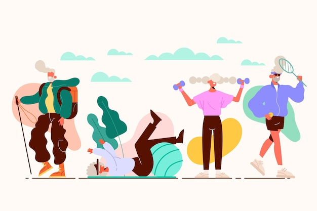 Active elderly people illustrated
