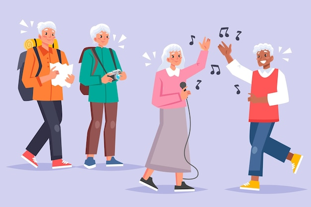 Active elderly people illustration