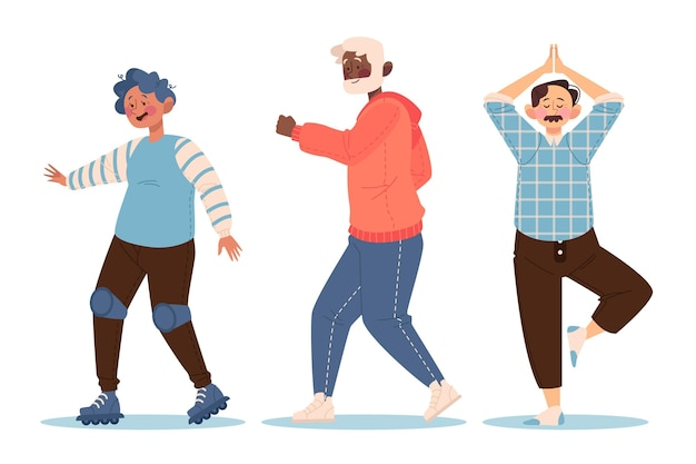 Active elderly people illustration