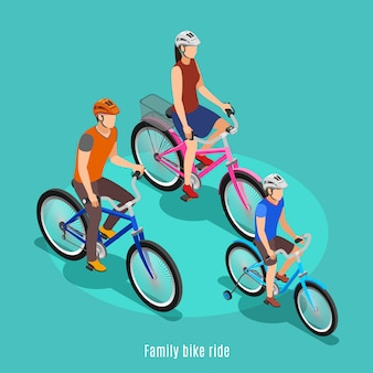 Active family isometric with father son and daughter riding bike  in helmets vector illustration