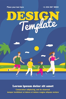Active family running on beach. parents, kids, jogging by sea flat poster