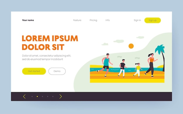 Active family running on beach. parents, kids, jogging by sea flat vector illustration. sport, family activity, summer vacation concept for banner, website design or landing web page
