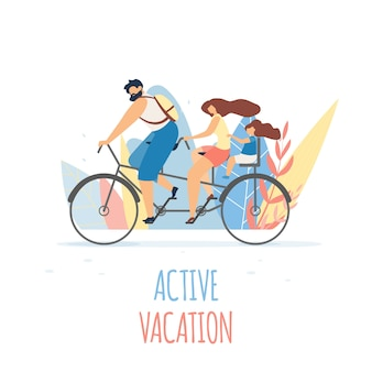 Active family vacation on bicycle flat banner.