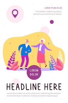 Активная смешная старая пара танцует на вечеринке плоской иллюстрации
